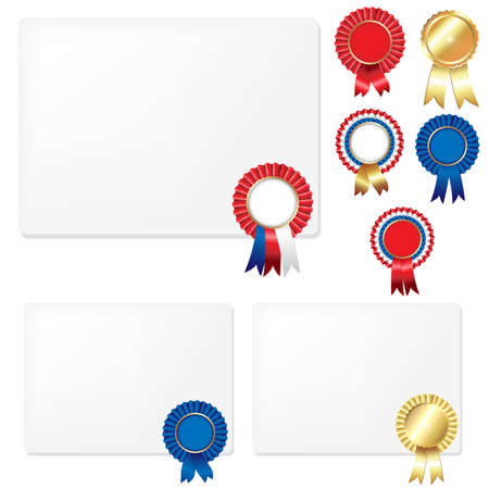 Ribbons Rosette Badge And Blank Gift Tags, Isolated On White Background, Vector Illustration  Vector