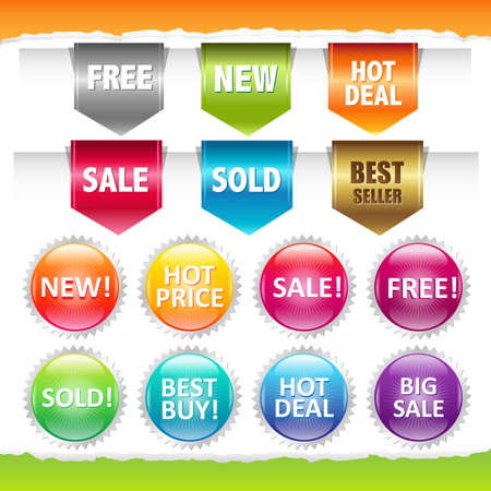 Sold Stickers And Ribbons, Isolated On White Background, Vector Illustration Stock Vector - 12285307