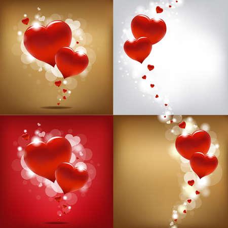 love wallpaper: 4 Valentines Day Gard, Vector Illustration  Illustration