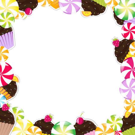 tarte aux cerises: Cadre anniversaire avec g�teau, Illustration Vecteur Illustration