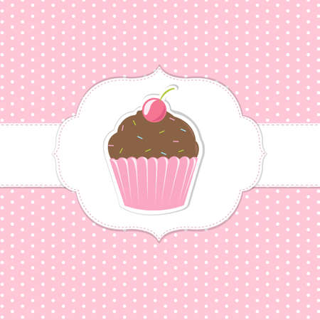 Vintage Cupcakes Pink Labels, Vector Illustration Vector