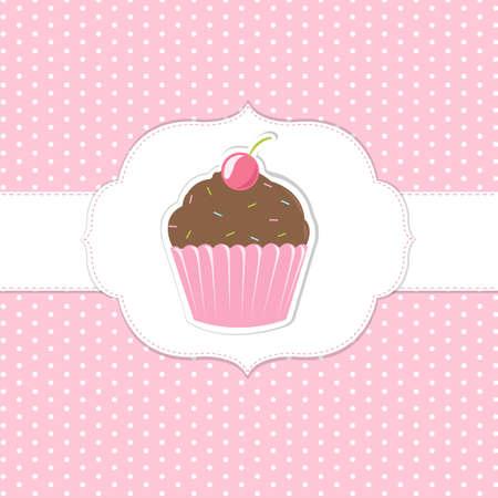 Vintage cupcakes rosa etiquetas, ilustración vectorial