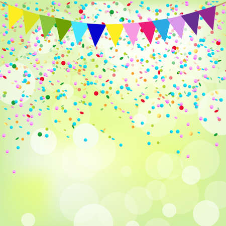 party streamers: Birthday Poster, Vector Background Illustration