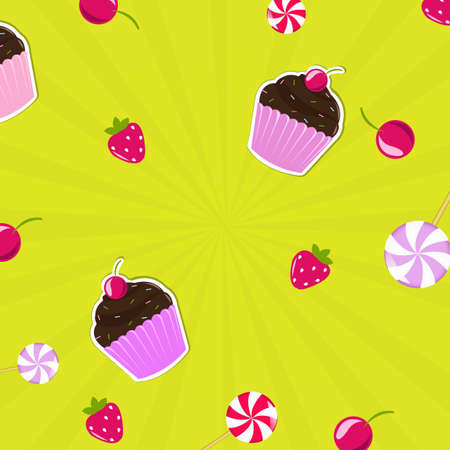 fruitcakes: Birthday Card With Cupcake, Vector Background
