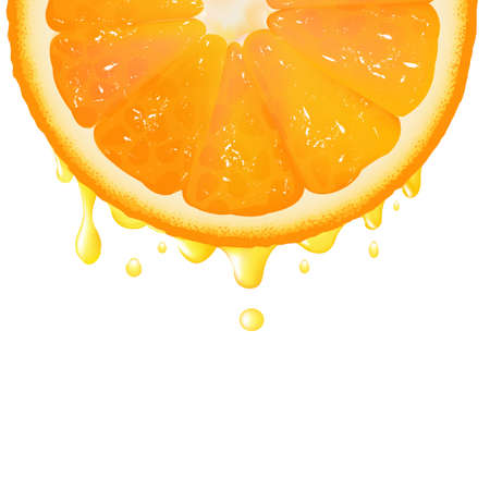 citric: Orange Segment With Juice, Isolated On White Background, Vector Background