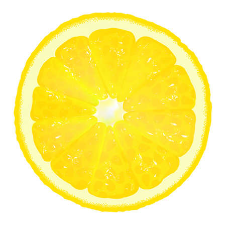 citric: Lemon Segment With Juice, Vector Background