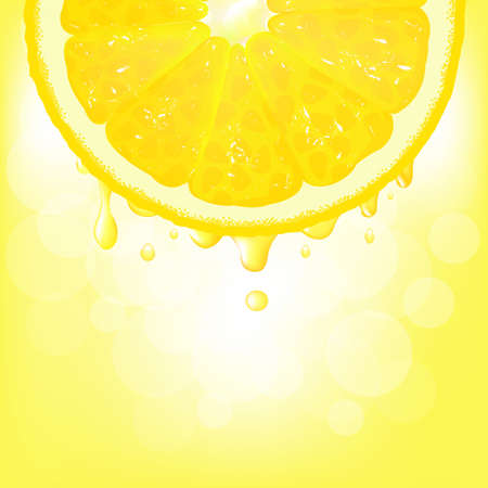 citric: Lemon Segment With Juice And Bokeh, Vector Background Illustration