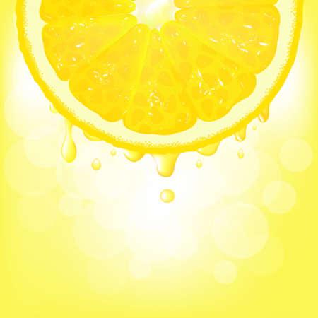 Segment de citron avec du jus et Bokeh, Contexte Vector Vecteurs