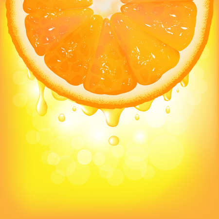 Orange Segment With Juice And Bokeh, Vector Background Vector