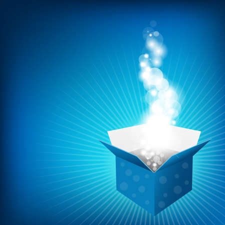 Blue Box And Sunburst, Vector Background