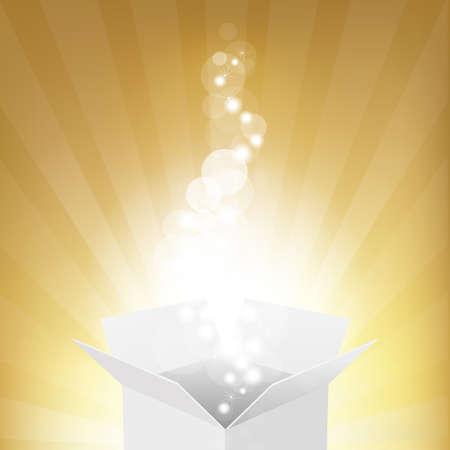 cajas navide�as: Caja y Sunburst, Fondo Vector