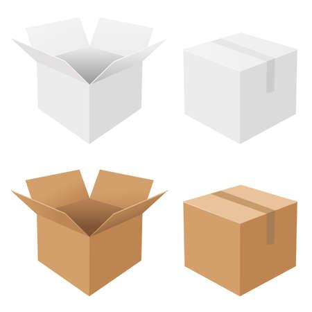 pappkarton: 4 Boxen, auf wei�em Hintergrund, Vektor-Hintergrund