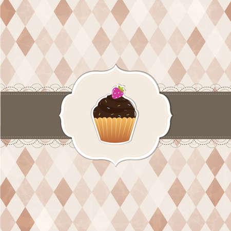 Cupcakes Vintage Labels, Vector Background