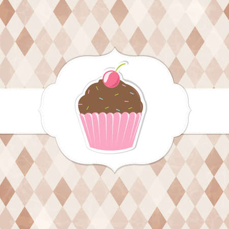 Vintage Cupcakes Labels, Vector Background Vector