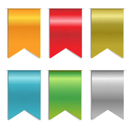 ribbons vector: 6 Web Ribbons, Isolated On White Background, Vector Background