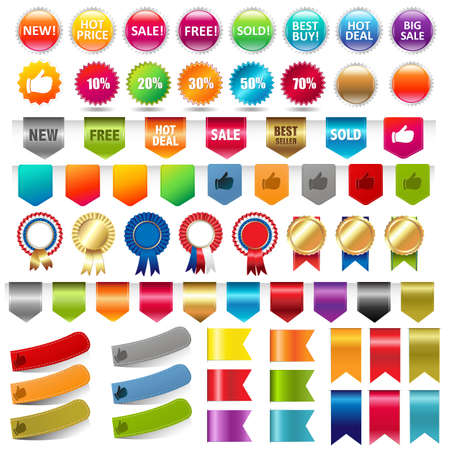 bestseller: Sale Stickers And Web Ribbons Set, Vector Illustration Illustration