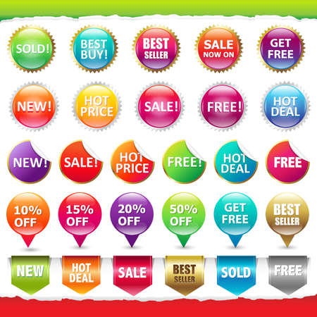 bestseller: Sale Stickers And Labels, Isolated On White Background, Vector Illustration