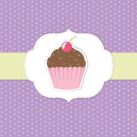Vintage Cupcake Sticker, Vector Illustration Vector