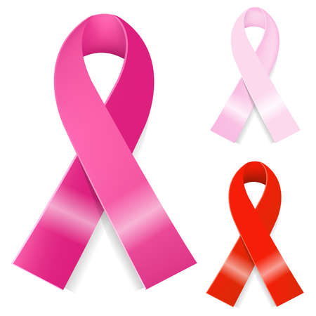 beaux seins: 3 Ruban de cancer du sein, Isol� Sur Fond Blanc Illustration