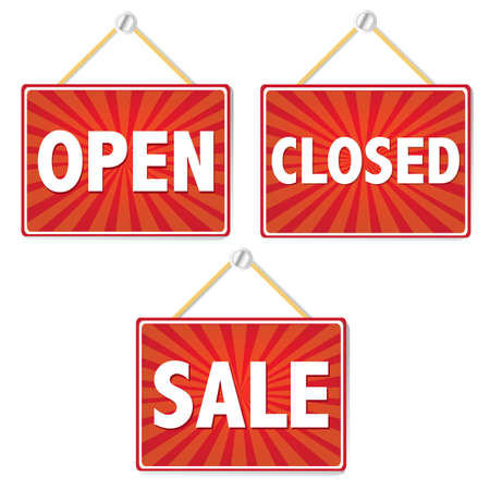 Open And Closed Signs, Vector Illustration Vector