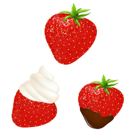 strawberry chocolate: 3 Strawberry Set With Chocolate and Cream, Isolated On White Background, Vector Illustration Illustration