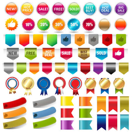 Big Collection Sale Stickers And Web Ribbons Set Vector