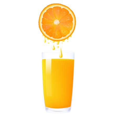 juicer: Orange Juice From Orange Into Glass, Isolated On White Background