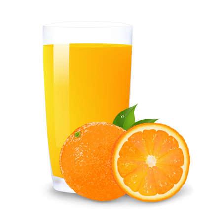 오렌지: 오렌지 주스와 흰색 배경에 오렌지 조각, 격리 일러스트