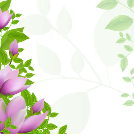 arbor: Green Background With Leaves And Magnolia, Vector Illustration