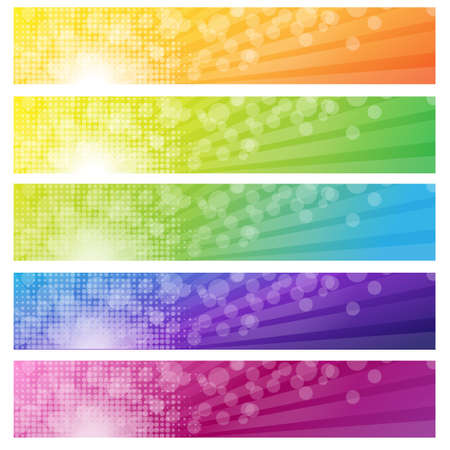 5 Banners With Bokeh, Isolated On White Background, Vector Illustration