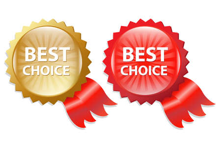 Best Choice Label With Ribbons, Isolated On White Background, Vector Illustration Stock Vector - 13358406