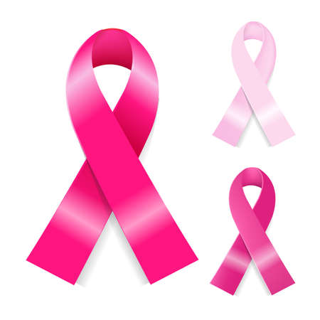 cancer: Breast Ribbons Set, Isolated On White Background,
