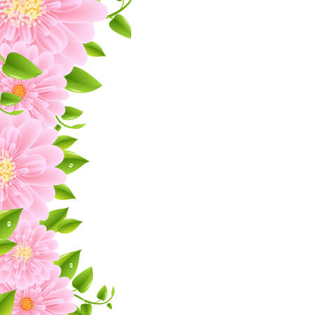 gerber: Pink Gerbers Border With Leaves, Vector Illustration