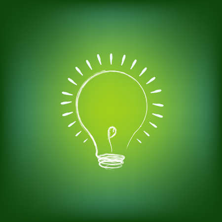 verimli: Green Energy Concept, On Green Background, Vector Illustration Çizim