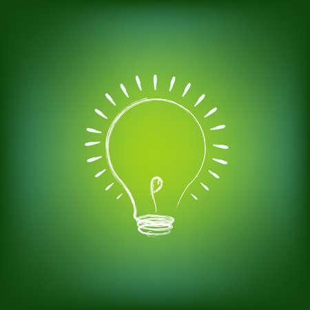 power saving lamp: Green Energy Concept, On Green Background, Vector Illustration Illustration