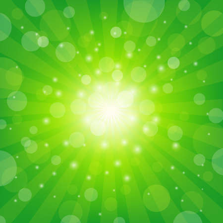 Green Sunburst Background With Bokeh, Vector Illustration Illustration