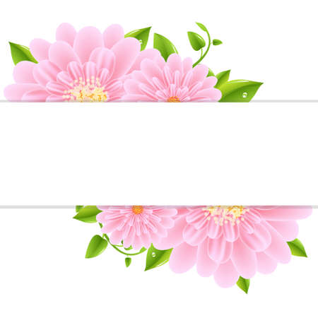 macro flower: Paper With Pink Gerber And Leaves, Vector Illustration Illustration