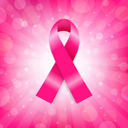 rak: Różowy Rak piersi Banner Ribbon, Ilustracja Wektor