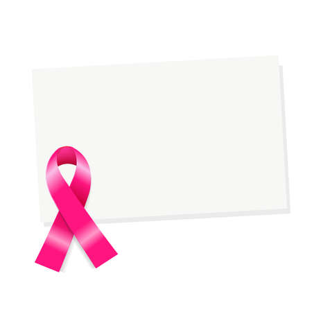 cause: Blank Gift Tag With Pink Ribbon, Isolated On White Background, Vector Illustration