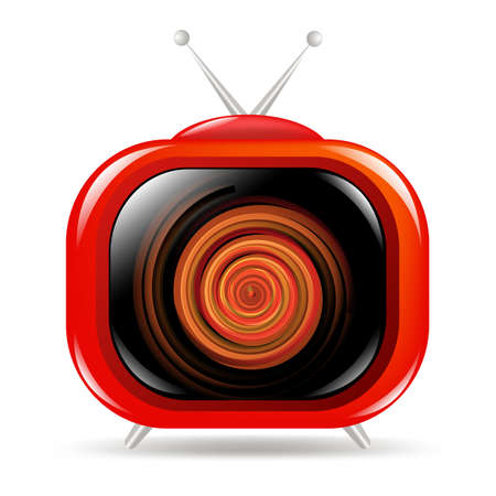channels: Red Retro Tv, Isolated On White Background, Vector Illustration