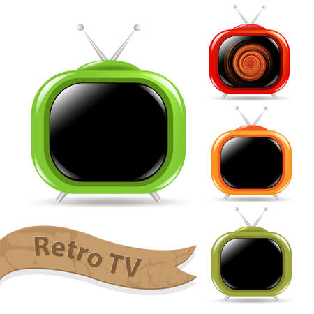 tv station: 4 Color Retro Tv With Antenna, Isolated On White Background Illustration