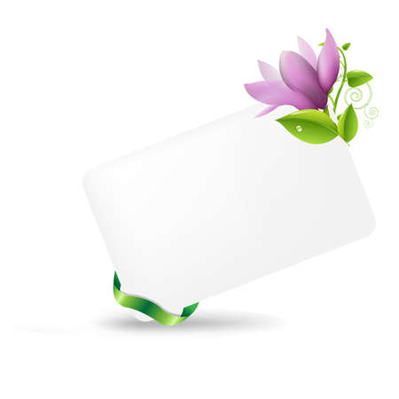 magnolia tree: Blank Gift Tag With Magnolia, Isolated On White Background, Vector Illustration