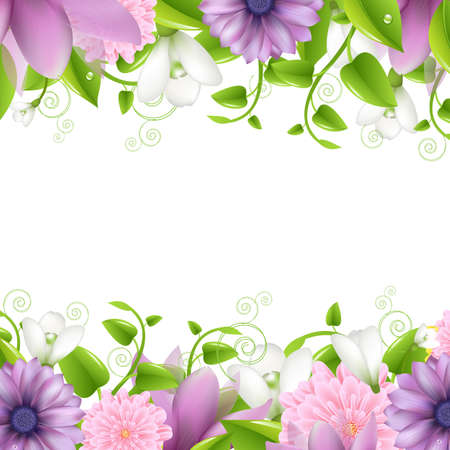Summer illustration With Flowers, Isolated On White Background, Vector Illustration Vector