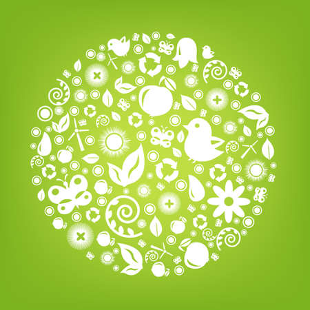 Eco Planet, Isolated On Green Background, Vector Illustration Vector
