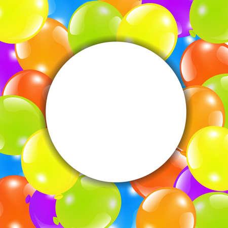 helium balloon: Happy Birthday Card With Balloon, Vector Illustration