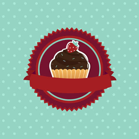 Vintage Cupcake, Isolated On Blue Background Illustration Vector