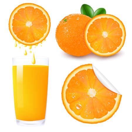 orange juice glass: Orange Fruit Set, Isolated On White Background, Vector Illustration