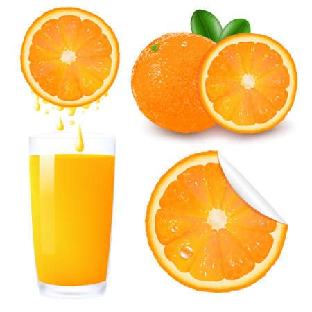 verre de jus d orange: Set de fruits Orange, Isolé Sur Fond Blanc, Vector Illustration
