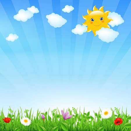 Cartoon Landscape With Sun And Clouds Vector