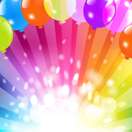 party background: Birthday Card With Balloon And Sunburst